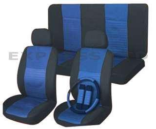 11 Pc Racing Style Blue Car Seat Cover Set
