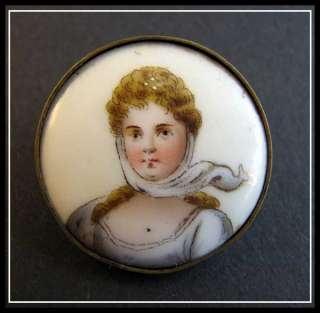 ANTIQUE Russian PORCELAIN Hand Painted Portrait BROOCH
