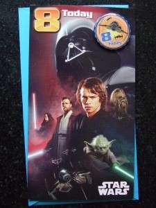 STAR WARS 6th 7th 8th 9th 10th 11th BADGE Birthday Card