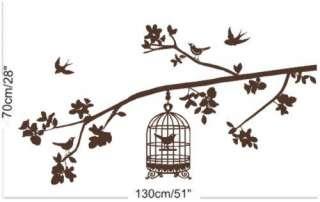 Bird Cage & Butterflies Wall Sticker   Many Colours