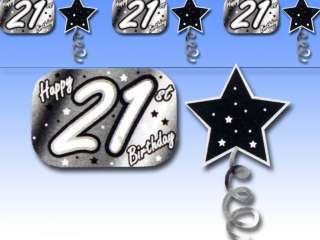 10ft BLACK Happy 21st Birthday Party Star Foil Garland