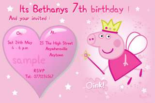 custom personalised Peppa Pig birthday invitations