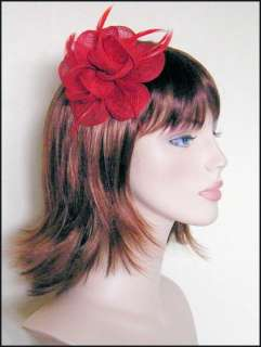 BRIGHT RED SINAMAY FLOWER FEATHER HAIR FASCINATOR CLIP
