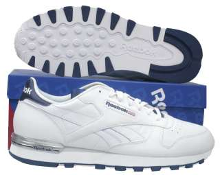 MENS REEBOK CLASSIC LEATHER CLIP WHITE LACE UP TRAINERS