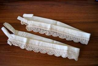 Pair Vintage Crochet Lace Cotton Curtain Tiebacks Ecru