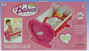 Babies Heart Rocking Cradle. Dolls bed, Childrens toy