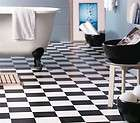 New Black & White Checked Vinyl Flooring 4m Wide Floor Covering DIY