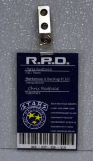Evil ID Badge STARS RPD Chris Redfield Marksman & Backup Pilot