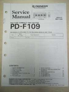 Pioneer Service Manual~PD F109 CD Player~Original~Repair