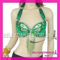 BELLY DANCE COSTUME BRA TOP BEADS SEQUINS PAILLETTES