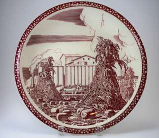 Rare Our America   Vernon Kilns   12 Inch Chop Plate