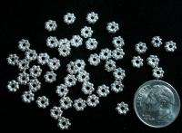50 Silver plated daisy rondell spacer beads 5mm dia bali style beads