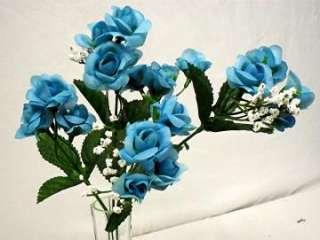 20 TURQUOISE BLUE Silk Mini Open Roses Wedding Flowers