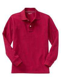 Uniform long sleeve piqué polo $19.95