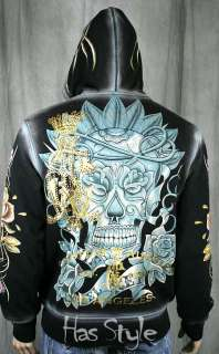 Christian Audigier Mens VIF Sugar Skull Hoodie Black day of the dead