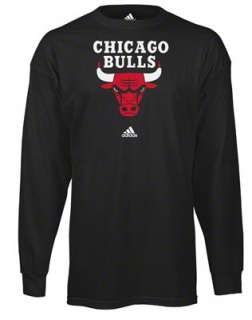 Chicago Bulls Black Primary Logo Long Sleeve T Shirt