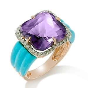 Amethyst, Sleeping Beauty Turquoise and Diamond 14K Rose Gold Ring at