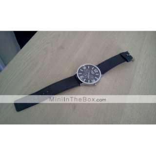 Classic Style PU Leather Band Big Dial Women Men Wrist Watch   Black