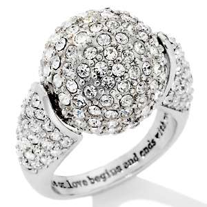 Paula Abdul FYG Silvertone Ball Pavé Finale Ring