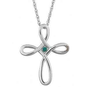 Sterling Silver Birthstone Color Crystal Loop Cross Pendant