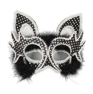 Deluxe Venetian Black Cat Mask