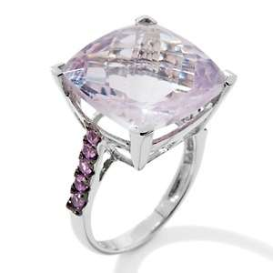 57ct Rose de France and Pink Sapphire Cushion Cut Ring at HSN