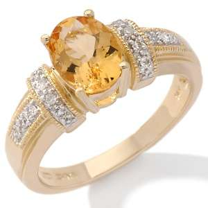 32ct Imperial Topaz and Diamond 14K Ring