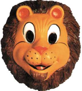 Lion Mask, Plastic Child Size. Full Face Childs Plastic Mask.