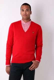 Red Merino Wool V Neck Knit by Lyle & Scott   Red   Buy Knitwear
