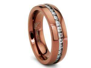 6MM Chocolate Eternity Stainless Steel Ring Wedding Band