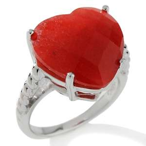 Faceted Jade Sterling Silver Heart Shaped Ring