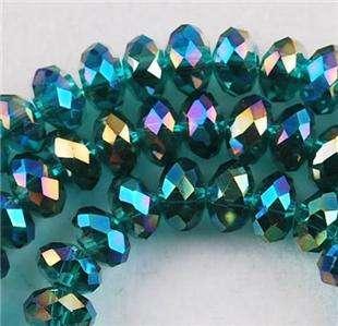 72pcs Peacock blue Swarovski Crystal Loose Bead 6X8mm
