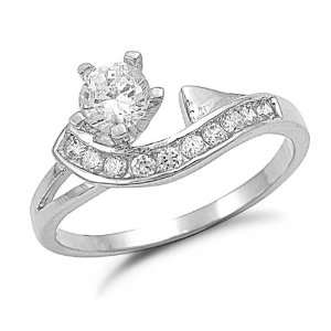 Sterling Silver Cubic Zirconia Fashion Ring, 5 Jewelry