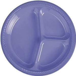 Periwinkle Plastic Divided Dinner Plate 20 Count