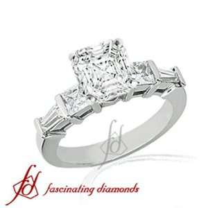 1.50 Ct Asscher Cut Diamond Engagement Ring Bar 14K WHITE