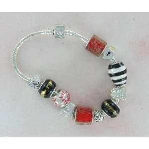 Red Square Beads with Glitter Bead Charm Friendship Story Bracelet
