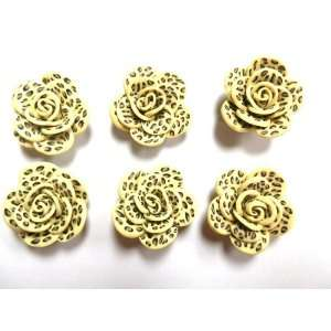 Clay Leopard Print Flower Rose Beads 25mm Arts, Crafts & Sewing