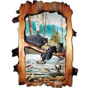 Black Bear Family on Log Wood Art