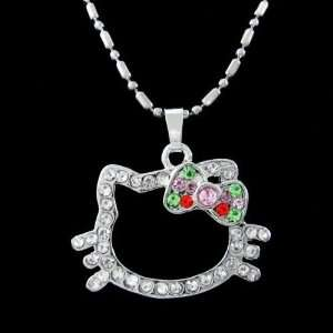 Crystal Pendant Necklace with Multi Color Crystal Bow