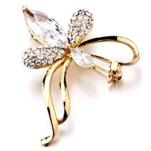 Swarovski Crystal Clear Crystal Flower Brooch & Pins Pugster Jewelry