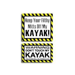 Hands Mitts Off KAYAK   Funny Decal Sticker Set