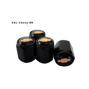 Aluminum Black Valve Caps Tire Cap Stem for Chevy Wheels (Pack of 4