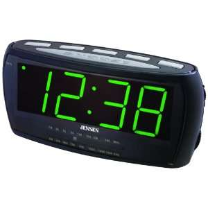 JENSEN JCR 208 AM/FM ALARM CLOCK RADIO WITH AUTO TIME SET: Electronics
