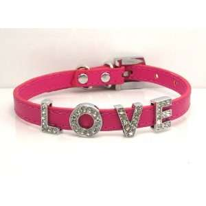 Extra Small Hot Pink Swarovski Grade Crystal Collar for Cat/dog with