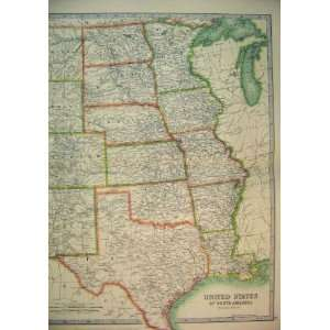1910 Map Central United States North America Texas Home