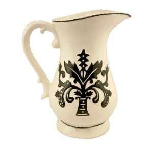LARGE PITCHER CERAMIC WHITE AND BLACK