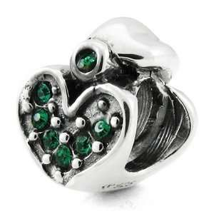Sterling Silver May Crystal Heart European Bead Arts, Crafts & Sewing