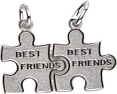 Charms Best Friend/Puzzle Piece Charm, 14K White Gold Jewelry