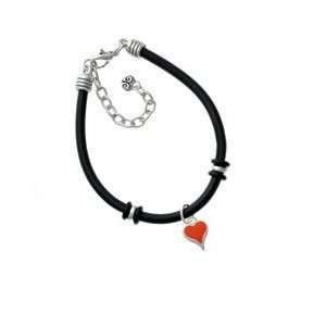 Small Long Orange Heart Black Charm Bracelet Arts, Crafts
