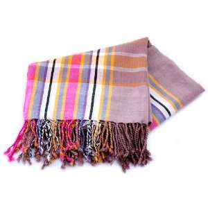 Light Coffee Color African Kikoy with Pink, Grey and Purple Stripes